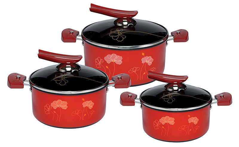 BỘ NỒI ANOD ĐÁY TỪ SUNHOUSE SHG1131 màu sắc với họa tiết hoa văn sẽ góp phần khiến căn bếp trở nên lung linh và sang trọng.