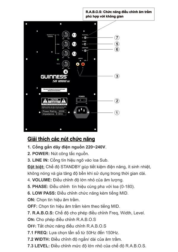Loa Subwoofer Guinness SB-1800 III với nhiều chức năng điều chỉnh phù hợp với nhiều thể loại nhạc bạn yêu thích.