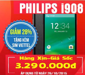Điện thoại philips i908 giá rẻ cùng ưu đãi hấp dẫn chỉ có tại Nguyễn Kim