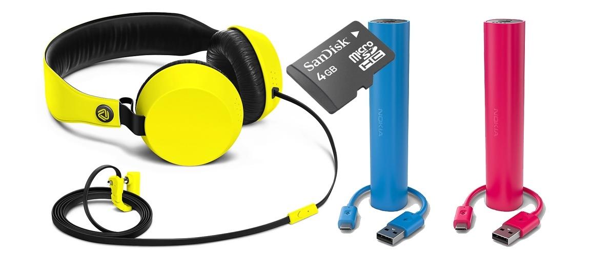 tai nghe cao cấp của Nokia - Pin sạc đa năng - thẻ nhớ MicroSD 4GB