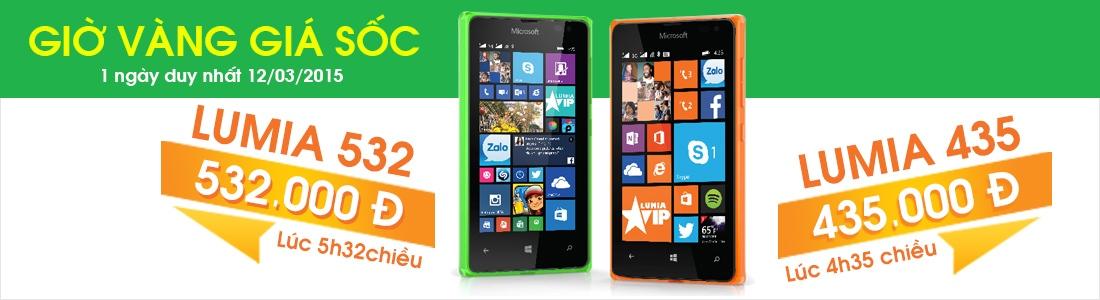 Giờ vàng giá sốc mua điện thoại Microsoft Lumia 435 chỉ 435.000đ và Lumia 532 chỉ 532.000đ tại Nguyễn Kim
