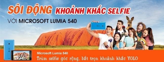 Microsoft Lumia 540 giá rẻ tại Nguyễn Kim Online, chụp ảnh selfie, trùm selfie