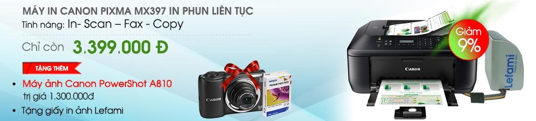Mua máy in CANON PIXMA MX397 GẮN LEFAMI CISS tặng giấy in ảnh Lefami, máy ảnh Canon Powershot A810 hàng chính hãng tại Nguyễn Kim Online