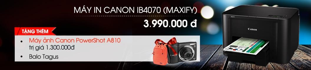 Mua máy in phun canon ib4070 tặng balo Tagus, tăng máy ảnh Canon Powershot A810 hàng chính hãng tại trung tâm mua sắm Nguyễn Kim
