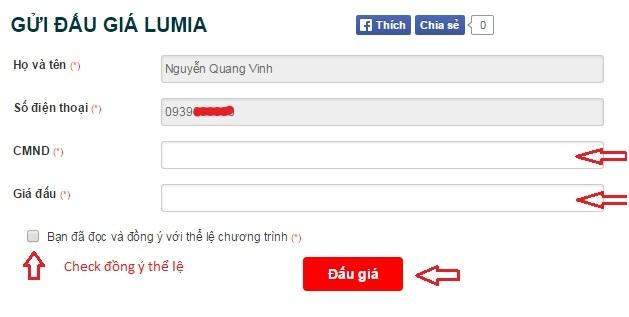 Nhập thông tin tham gia game đấu giá 0 đồng, Bạn sẽ có cơ hội nhận ngay chiếc điện thoại Lumia 830 tại Trung tâm mua sắm Nguyễn Kim.