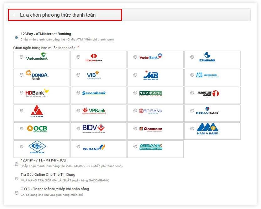 Chọn phương thức thanh toán mua sắm tại nguyenkim.com