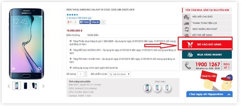 chọn mua sản phẩm chính hãng giá rẻ, click bỏ vào giỏ hàng tại nguyenkim.com