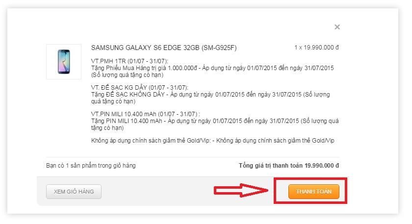 Thanh toán hóa đơn mua hàng online giá rẻ tại nguyenkim.com