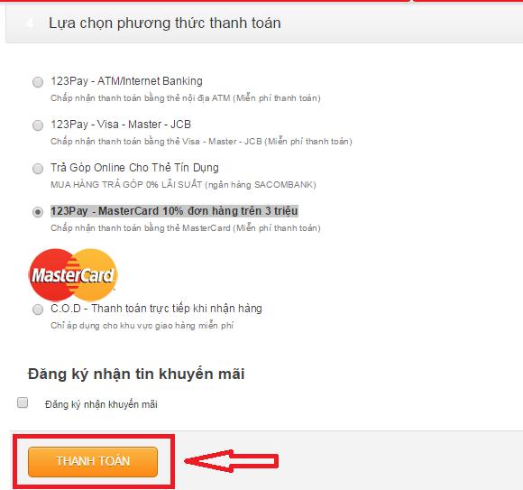 Lựa chọn phương thức thanh toán để kết thúc mua hàng online, khuyến mãi giá rẻ tại Nguyễn Kim Online