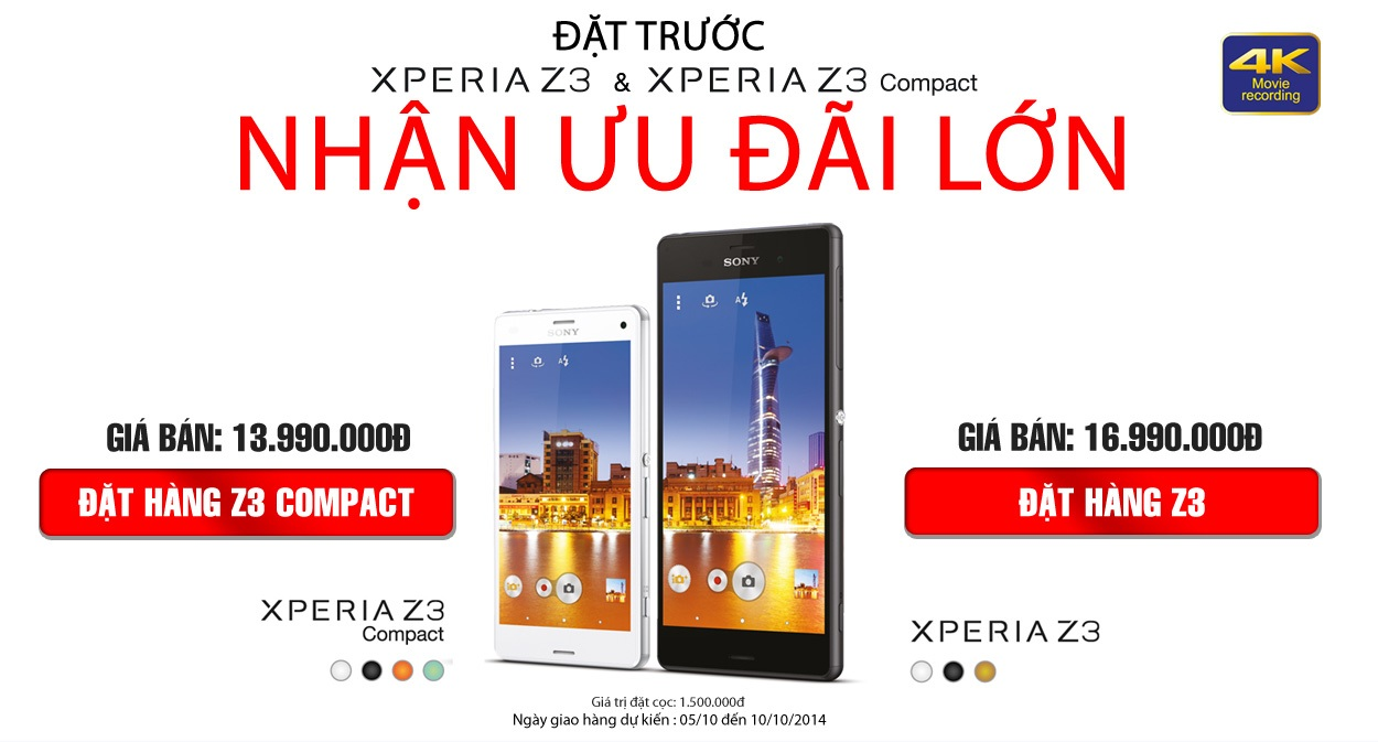 Đặt hàng Sony Xperia Z3 nhạn quà hot tai nguyenkim.com