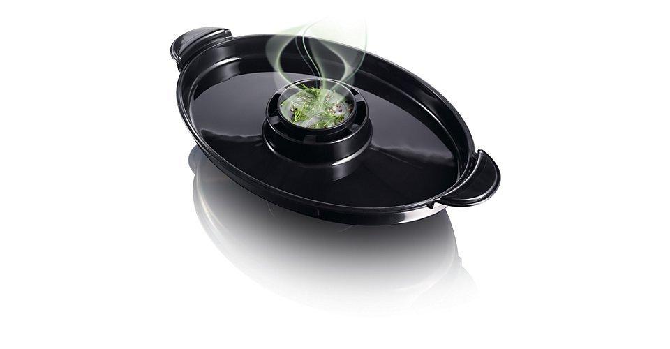 Bộ Gia Tăng Hương Vị độc đáo của nồi hấp Philips HD9140 tăng thêm hương vị thơm ngon của rau thơm và gia vị, mang đến mùi vị thơm ngon hơn cho món hấp