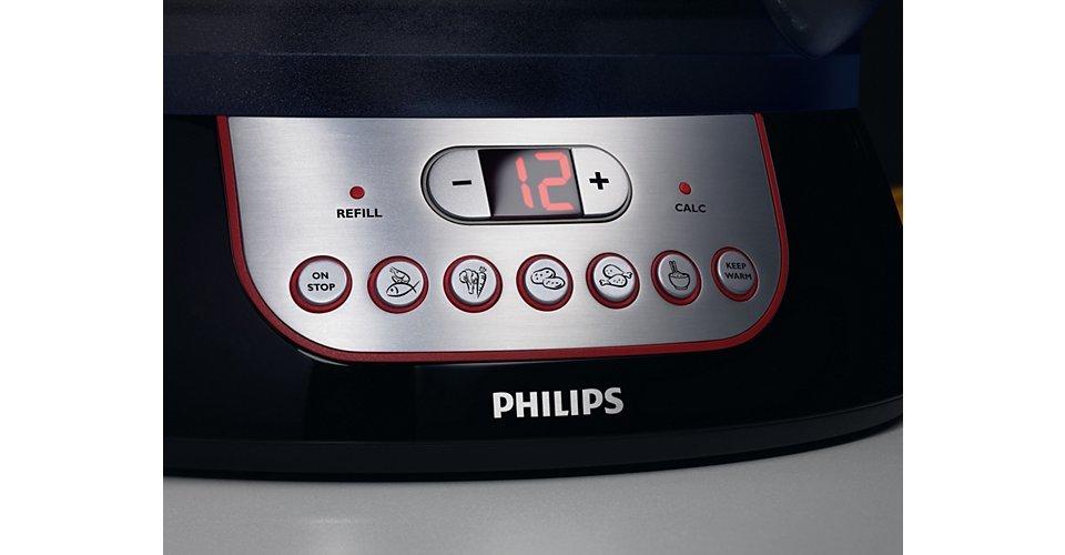 Nồi hấp Philips HD9140 có nhiều mức hẹn giờ cài đặt sẵn, tự động ngắt hơi hấp sau khi đạt đến thời gian hấp lý tưởng