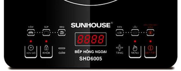 Bếp hồng ngoại Sunhouse SHD6005 trang bị màn hình LED rõ ràng