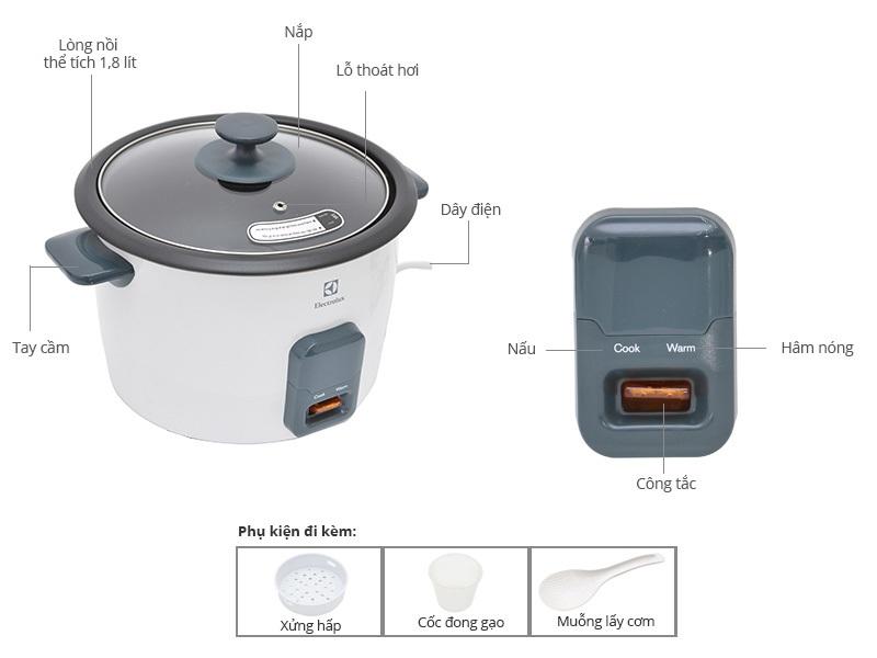 Nồi cơm điện Electrolux ERC1001 giá rẻ nắp kính