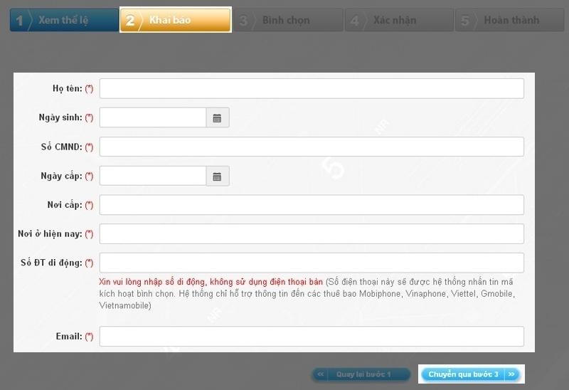 Hướng dẫn nhập thông tin bình chọn website thương mại điện tử nguyenkim.com
