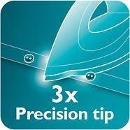 Đầu bàn ủi Philips GC1020 chính xác gấp 3 lần để nhìn rõ và điều khiển tối ưu.