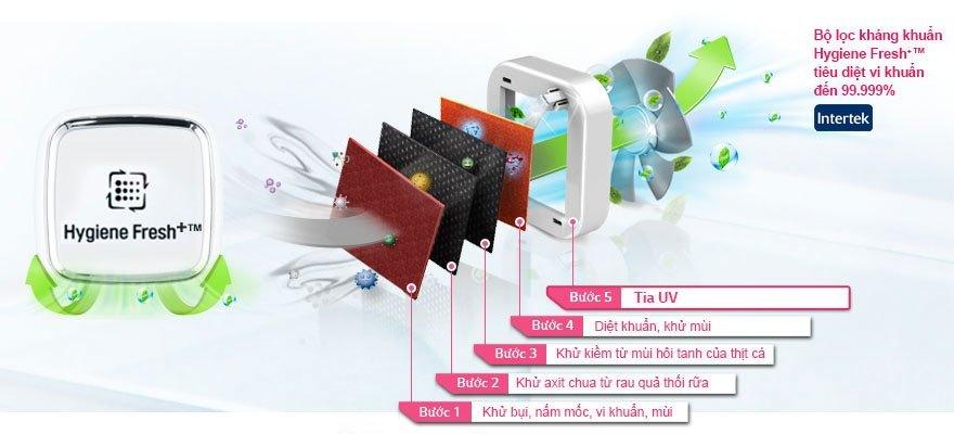 Tủ lạnh LG GR-L392MG sử dụng bộ lọc  Hygiene Fresh+™ giúp kháng khuẩn vô cùng hiệu quả.