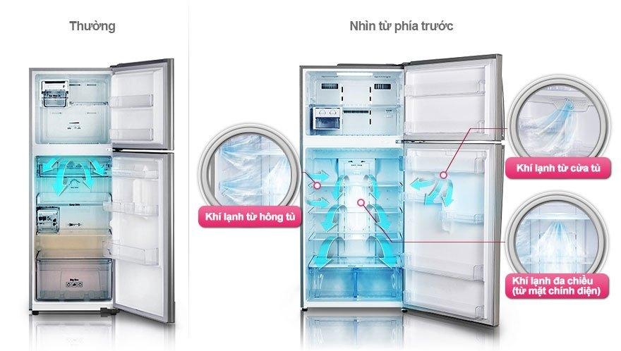 Tủ lạnh LG GR-L392M sử dụng công nghệ làm lạnh 3 chiều giúp khí lạnh đi khắp đến từng ngóc ngách tủ lạnh