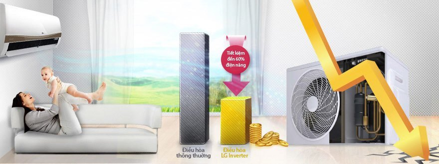Máy lạnh LG V10APM tiết kiệm điện đến 60%