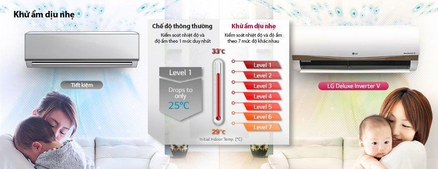 Máy điều hòa LG V10APM khử ẩm dịu nhẹ