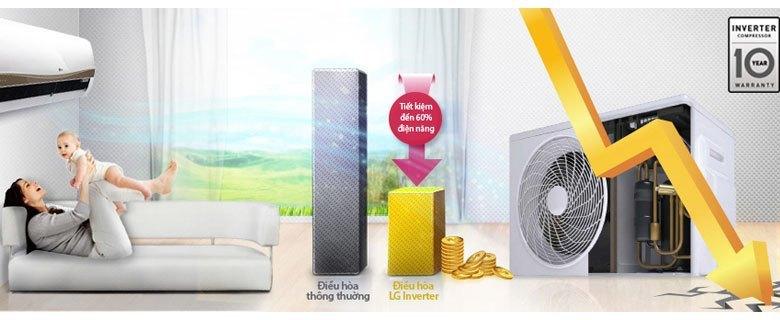 Máy lạnh LG V13APC tiết kiệm điện đến 60%