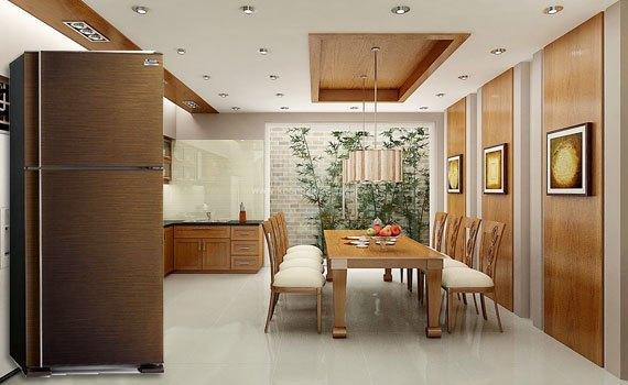 Tủ lạnh Mitsubishi Electrolux MR-F42EH 346 lít nâu giá tốt có bán tại Nguyễn Kim