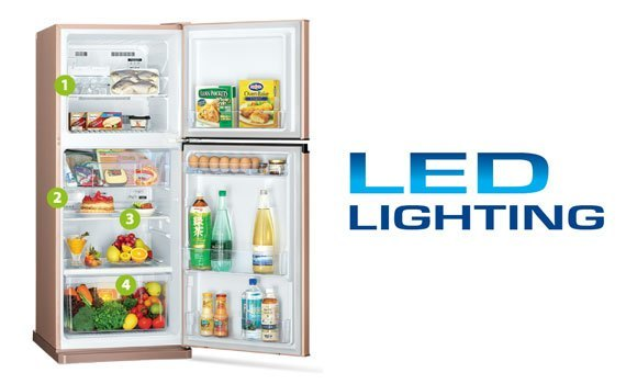 Tủ lạnh Mitsubishi Electric MR-FV32EJ 274 lít dùng đèn LED chiếu sáng
