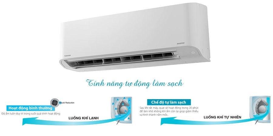 Máy lạnh Toshiba RAS-H13BKCV-V 1.5 HP có tính năng tự động làm sạch