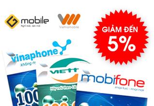 Thẻ cào,thu cước điện thoại - Giảm đến 5%
