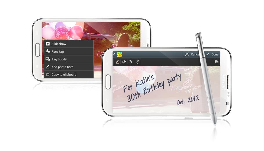 Samsung Galaxy Note 2 N7100 thêm những dòng viết tay cá tính vào phía sau bức ảnh để ghi dấu từng khoảnh khắc