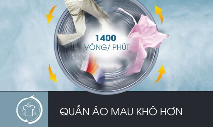 Máy giặt LG 8KG FC1408S4W2 tiết kiệm thời gian phơi khô quần áo