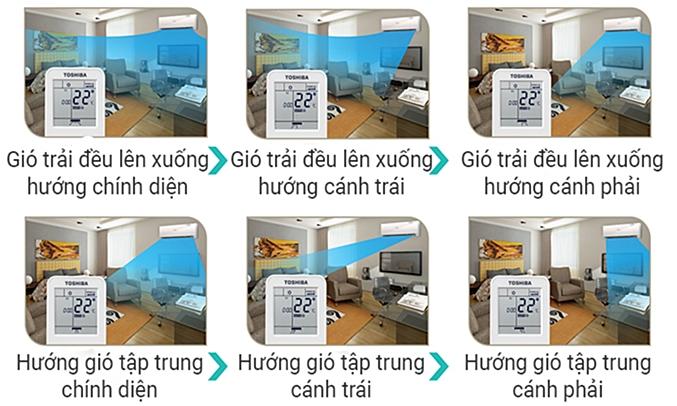 Máy lạnh Toshiba RAS-H10G2KCVP-V luồn khí lạnh đa chiều 3D