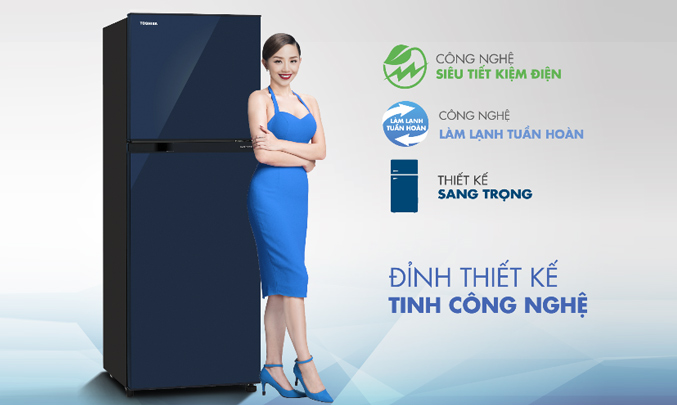 Tủ lạnh Toshiba GR-A25VU (UB) màu xanh đen khử mùi diệt khuẩn vượt trội