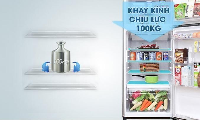 Tủ lạnh Toshiba GR-A25VU (UB) màu xanh đen khay kính chịu lực bền bỉ