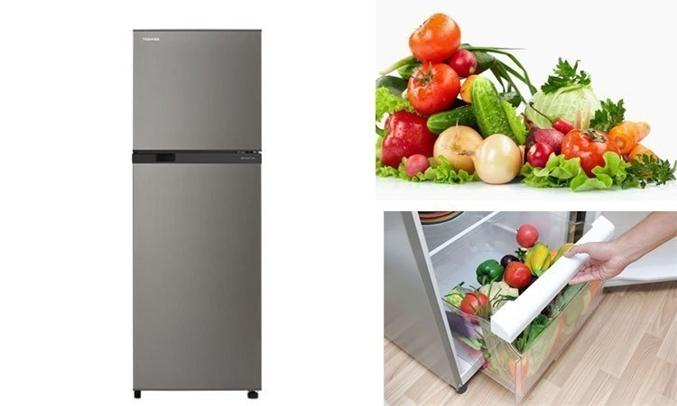 Tủ lạnh Toshiba GR-M28VBZ(DS) ngăn đựng rau quả rộng thoải mái