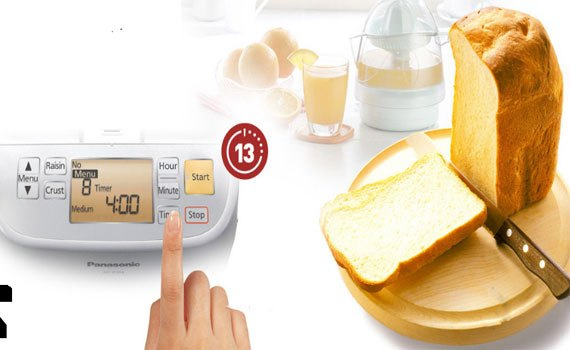 Máy làm bánh mì panasonic SD-P104WRA chức năng hẹn giờ thông minh