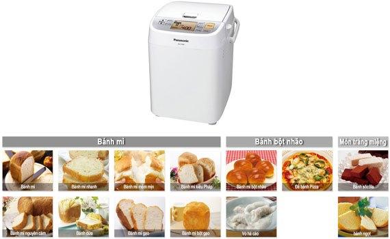 Máy làm bánh mì panasonic SD-P104WRA13 thực đơn phong phú