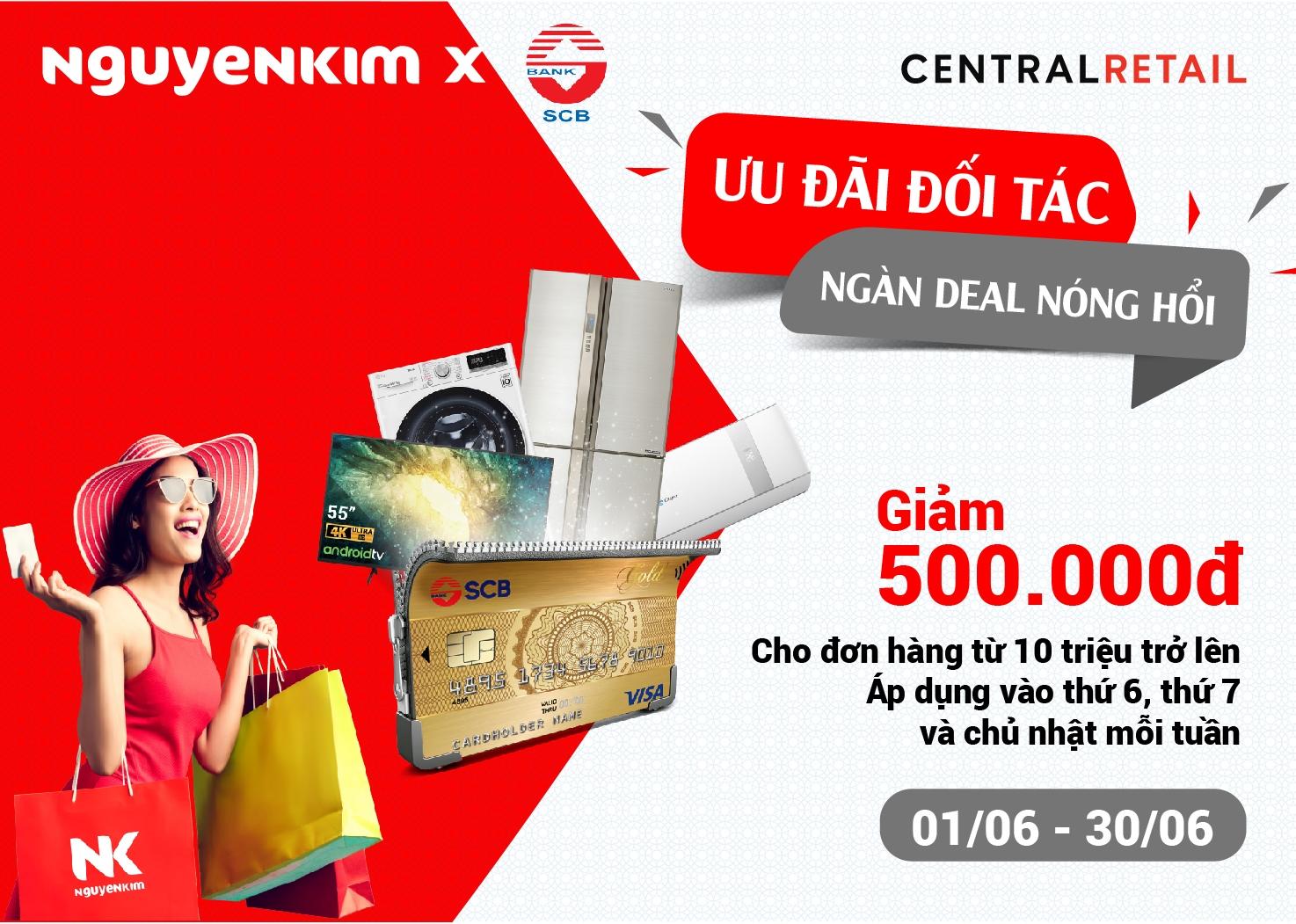 Ưu đãi thẻ tín dụng SCB giảm 500.000 đồng