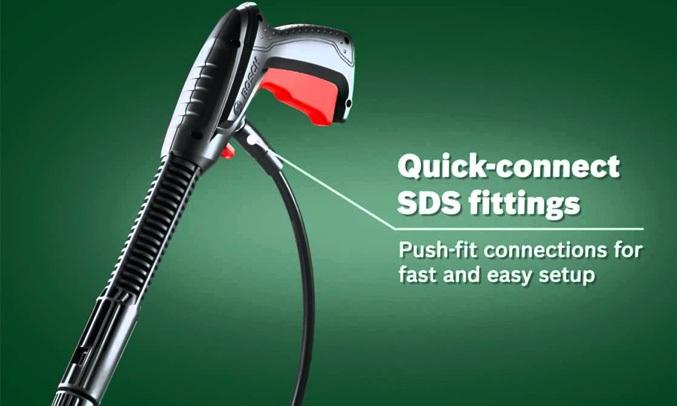 Máy phun xịt rửa áp lực cao Bosch AQT 100 tháo lắp vòi nhanh chóng dễ dàng