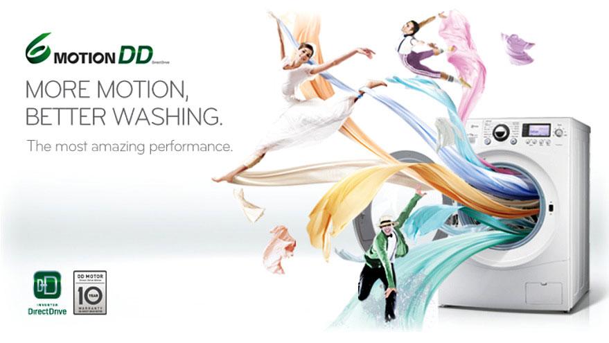 Máy giặt LG WD 8600 giảm thiểu tiếng ồn và tiết kiệm nước, điều này còn làm tăng dộ bền của động cơ và giảm chi phí bảo trì