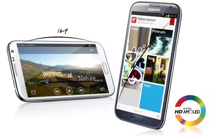 Samsung Galaxy Note 2 N7100 sở hữu màn hình 5.5 inches